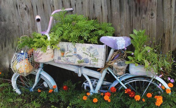велосипед цветник